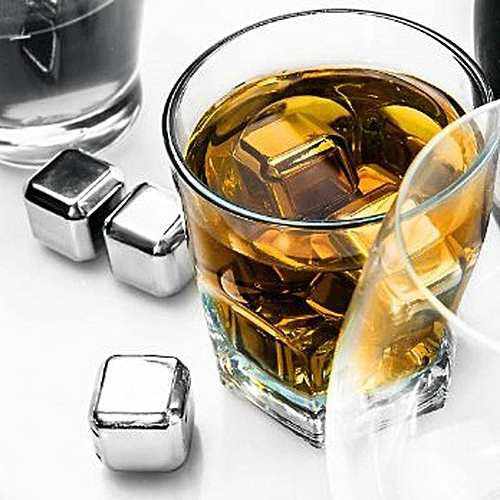 DISU Reusable Square Stainless Steel Ice Cubes Whiskey Cooler Drink Chiller