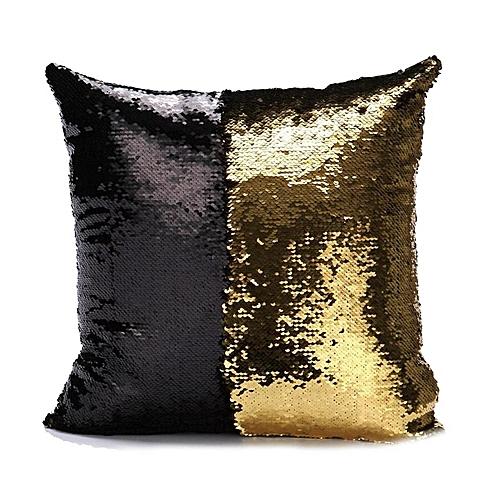 Hit Color Sequins Throw Pillow Cover Case 40*40cm 28- Black & Gold