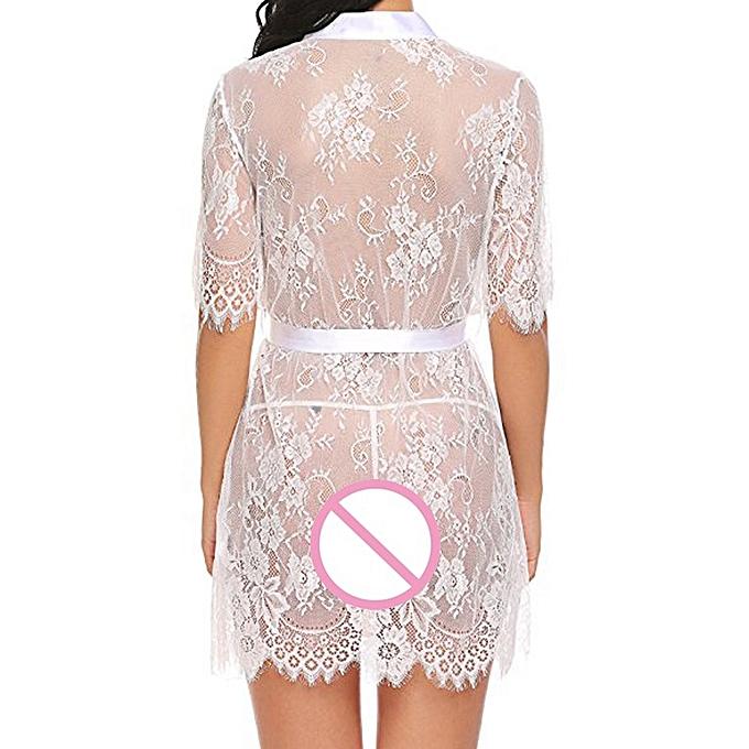 6376e1edaa2 Lodaon Women s Lingerie Kimono Robe Eyelash Lace Babydoll Sheer Nightwear