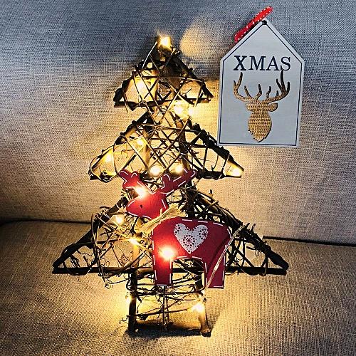 DIY Rattan Wreath String Lights Lamp Christmas Door Wall Decor With 20 LED Beads Wannag