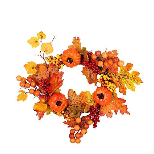 Fashion Autumn Maple Leaf Berry Artificial Garland Front Door Wreath Xmas Home Decor