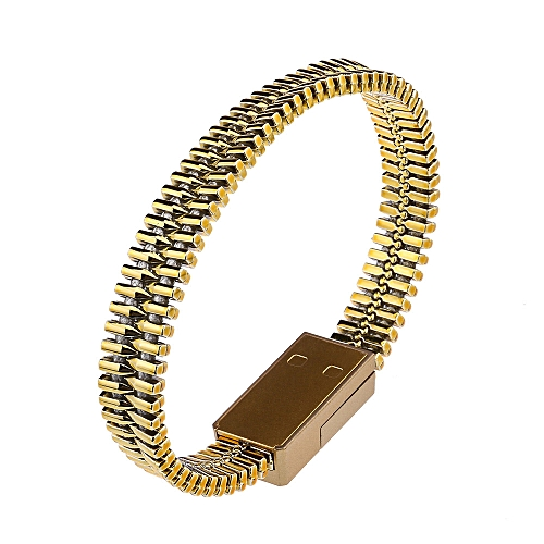 Creative Bracelet Charger Android Phone Micro USB Data Sync Fast Charging Cable Gold