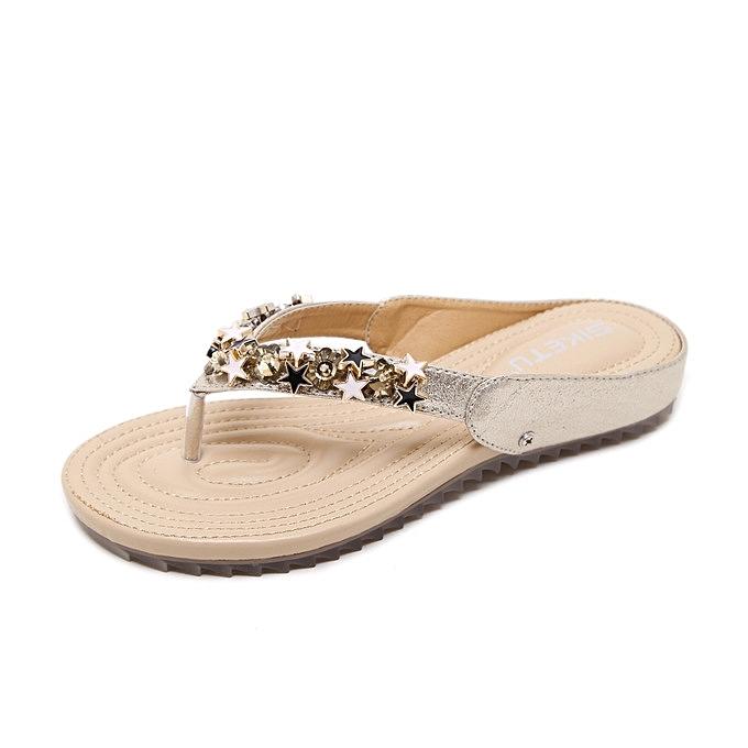 0ef9aac207d6f Large Size Women Sandals Bohemian Beaded Soft Slipper Comfortable Flats  Beach Slippers Flip Flops-gold