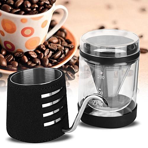 Coffee Drip Long Mouth Hand-washed Coffee Machine Gift Box (Black Set)