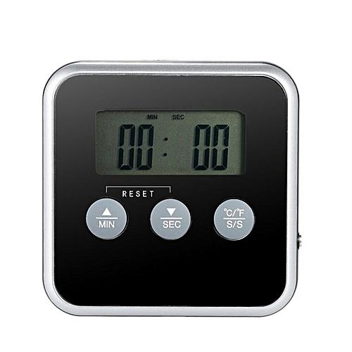 Generic Digital Display c F Food Thermometer Probe Timer Meter Magnet Cooking Food Black