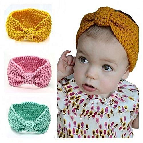 Generic 4 Pcs Baby Kids Warm Chunky Knitted Turban Headband Ear Warmer Head  Wrap Winter Latest 74643d71b2d