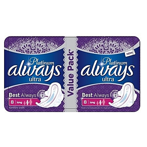 Always Platinum Ultra Sanitary Pad W/flexible Wings -16 Pads