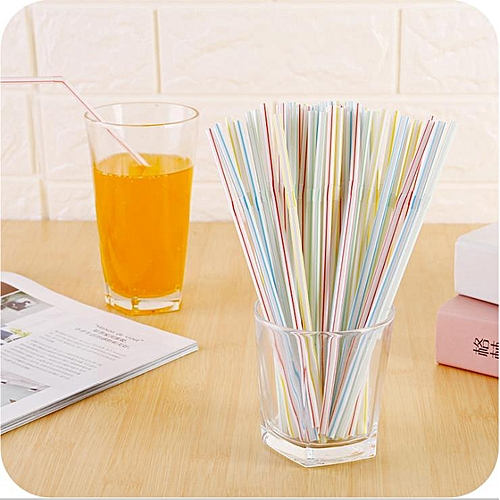 100pcs/lot Mixed Color Disposable Drinking Straws Birthday Party Wedding Supplies