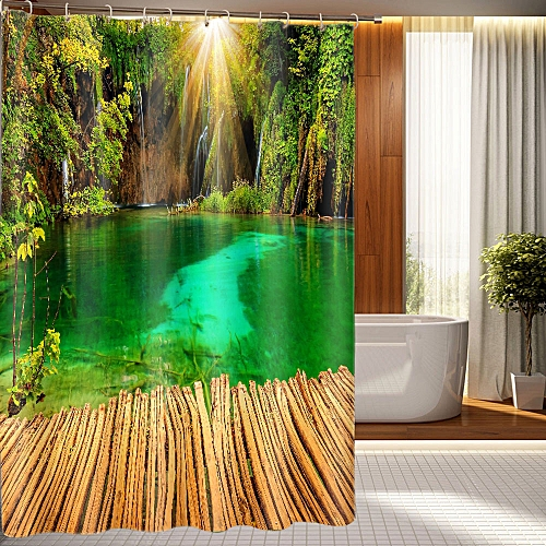 Correponde Printing Waterproof Personality Fabric Bathroom Shower Curtain O