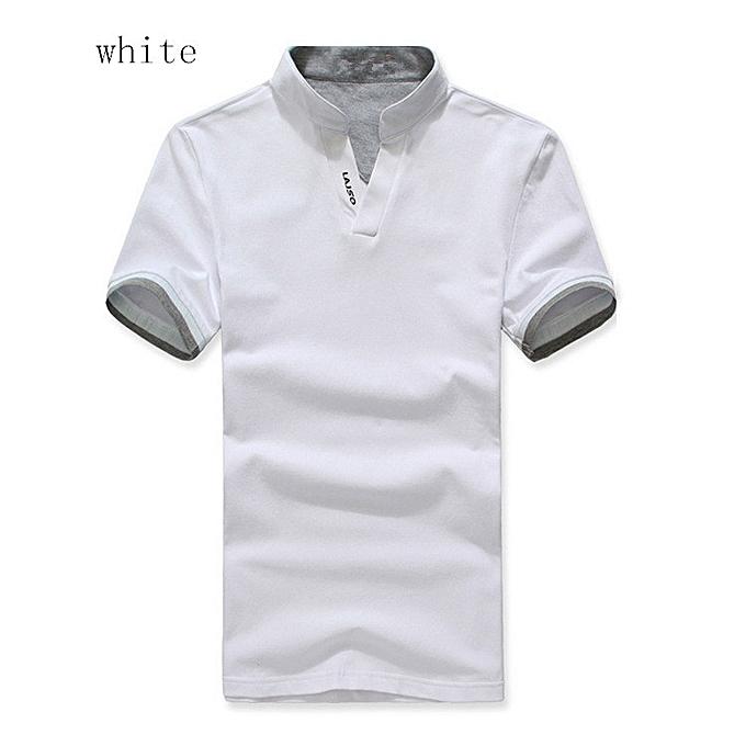 c1387b36432 Men's Casual V Neck Slim Long Sleeve T Shirt Muscle Top Blouse Polo Shirt  White