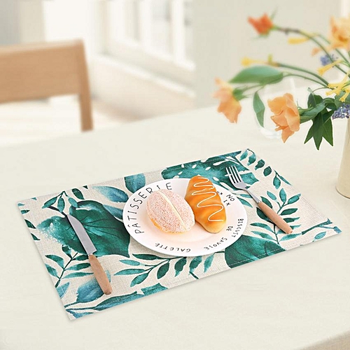 Green Leaves Pattern Cotton Linen Tableware Mat Dining Bowl Insulation Pad Home Decor #1
