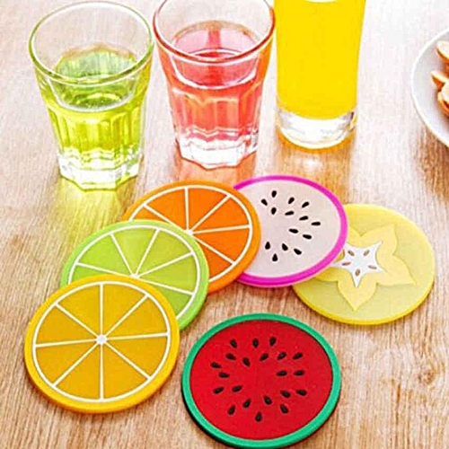 Eleganya 6pcs Fruit Coaster Colorful Silicone Cup Drinks Tableware Placemat