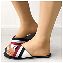 d83924b907 Contrast Striped Ladies Flat Slippers - Multicolour