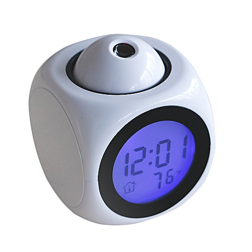 New Multifunctional Voice Talking LCD Time Temp Diplay Alarm Clock Projection Time(WHITE)