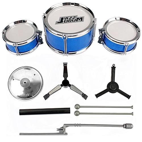 CO 3-Piece Kids Drum Set Children Junior Drums Kit Percussion Musical Instrument-blue