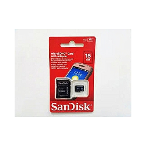 Sandisk 16GB Micro SDHC Memory Card + Adapter