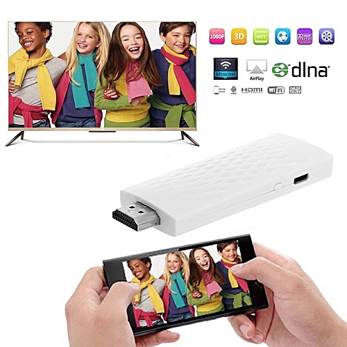 Wireless Wifi Airplay Phone Screen To HDMI TV Dongle Adapter Mirror 1080P Display For IOS (White) (SHUN)