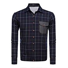 4a0194d51af8 Men  039 s Long Sleeve Plaid Patchwork Casual Shirt Jacket-Black