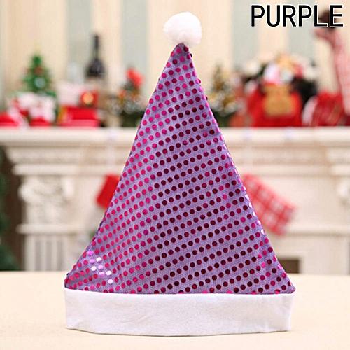 Hot Sale 5Colors Beautiful Sequin Christmas Hat High Christmas Hat Christmas Party Supplies Christmas Ornaments Purple