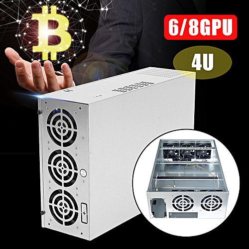 6/8GPU+5 Fans 4U Bitcoin Mining Rig Open Air Frame Steel Frame Graphics