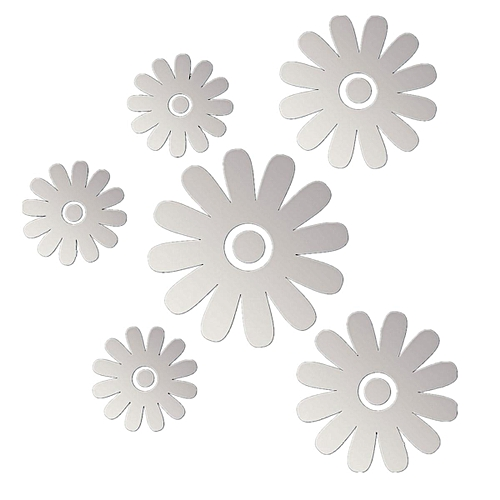 Silver Flower Mirror Style DIY Wall Sticker Decals Mural Art Home DIY Decor