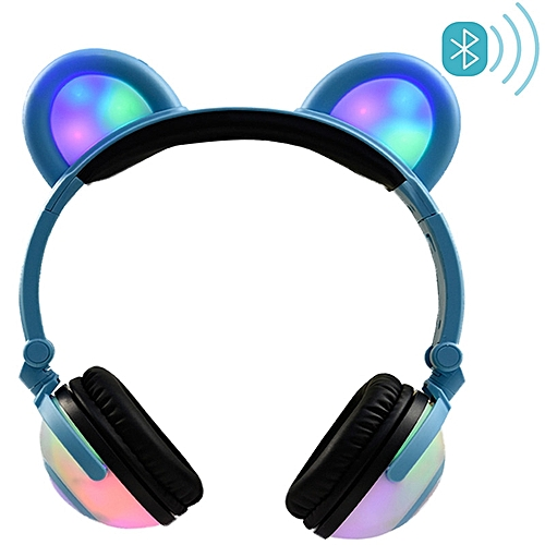 Bluetooth Headphones Bear Ear Wireless Headsets LED Light Glowing