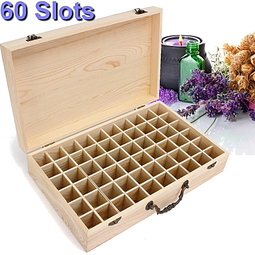 60 Slot Essential Oil Storage Box Wooden Aromatherapy Case Container Organizer