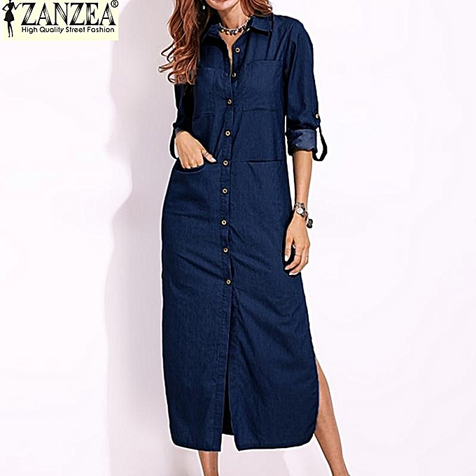 b0ebeabf5ee ZANZEA Women Long Sleeve Buttons Down Shirt Dress Denim Blue Split  Asymmetrical Long Dress Plus Size
