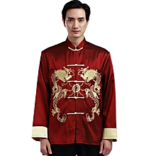 84bf3b0635744 Shanghai Story Faux Silk Men  039 s Chinese Traditional Long Sleeve Double  Dargon Tang