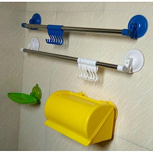 Bathroom Shelf Rack Towel Hanger Soap Dish 4pcs Bundle