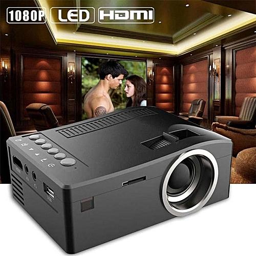 1080P HD LED Home MulitMedia Theater Cinema USB TV VGA SD HDMI Mini Projector BK- Black