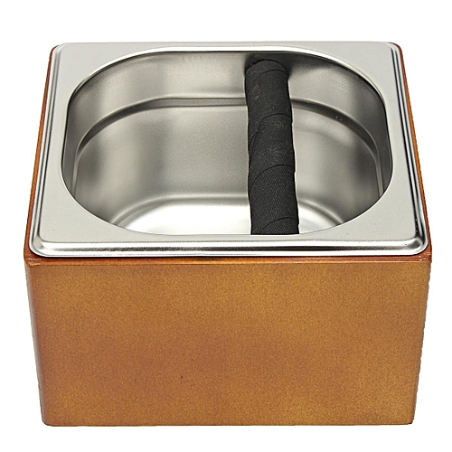 Wooden Holder Stainless Steel Coffee Grounds Knock Box Set Tool Accessory Silver
