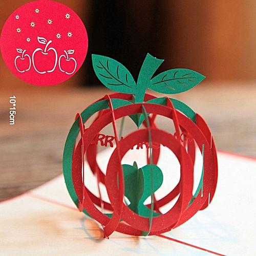 Christnas Apple Card 3D Pop Up Handmade Holiday Greeting Cards Postcards