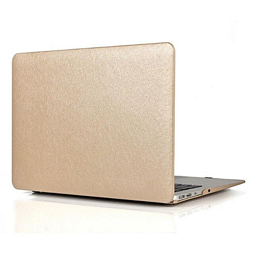 XSKEMP Shockproof Hard Cover For Macbook Air 13 PU Leather Silk Print Laptop Shell + Keyboard Cover Gold