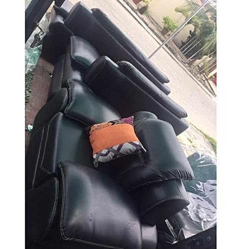 Tepral 7 Seater Black Leather Set