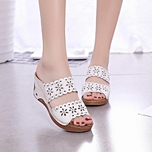 6cd3c099ac5a Women Casual Wedge Heel Flowers Hollow Peep Toe Sandals-EU