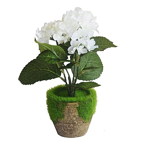 Decorative Flower In Wooden Pot - White