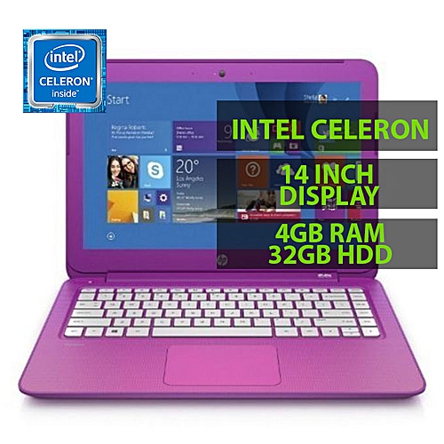 Stream 14-ax002na N3060- Intel Celeron, 4GB,32GB SSD + 32gb Flash Drive 14.0-Inch Screen Windows 10 Purple