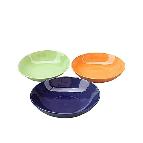 """8"""" Glazed Colorful Serving Bowl Set, 3pieces - Multi"""