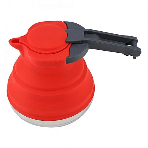 1Pc Portable Foldable Silicone Kettle Boiled Water Teakettle Outdoor Hiking Camping Use (Red)