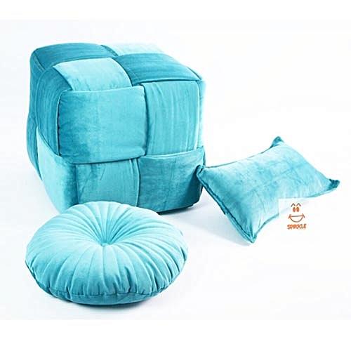 Luxury Woven Ottoman - Sky Blue