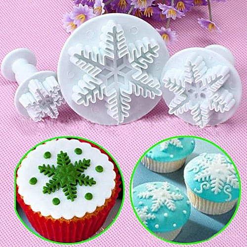 Watermalend 3Pcs Snowflake Cake Decorating Fondant Plunger Cutters Mold Mould Cookies Tools