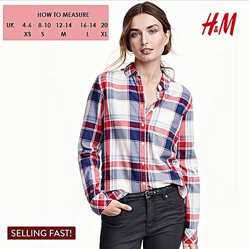 Checked Long Sleeve Shirt - Red/Blue