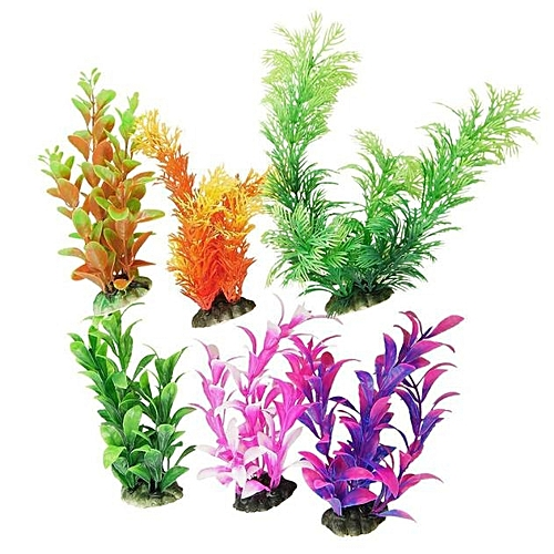 Hiamok_6pcs Artificial Plastic Water Plants Aquarium Tank Accessories Turtle Landscape