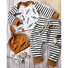 e67c6b636 Newborn Baby Boy Girl Feather T Shirt Tops Striped Pants Clothes Outfits Set