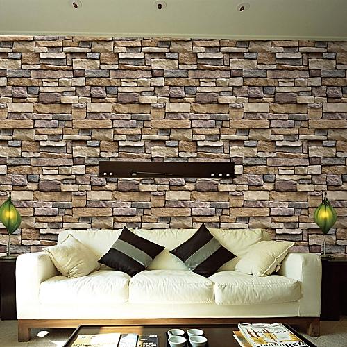 Skywolfeye 3d Wall Paper Brick Stone Rustic Effect Self Adhesive