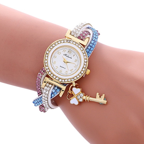 Africashop Wrist Watch Wrap Around Padlock Diamond Bracelet Lady Womans