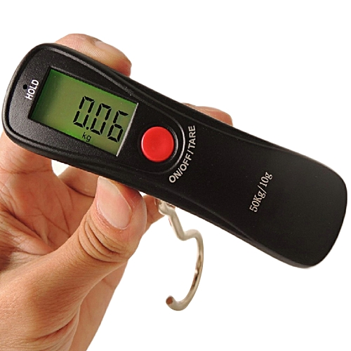 1pcs Mini Accurate Weight Measurement Electronic Scale 50kg X 10g LCD Display Hanging Weights Hand Scale Fishing Hook Scales
