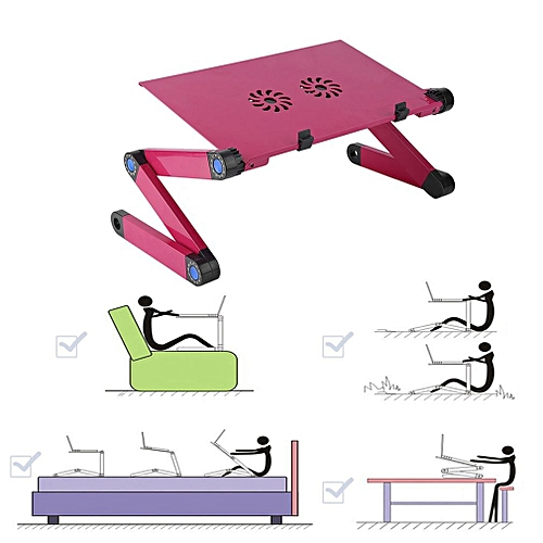 Foldable Aluminum Alloy Laptop Notebook Desk Stand With Dual Fan & Mouse Plate-rose Red