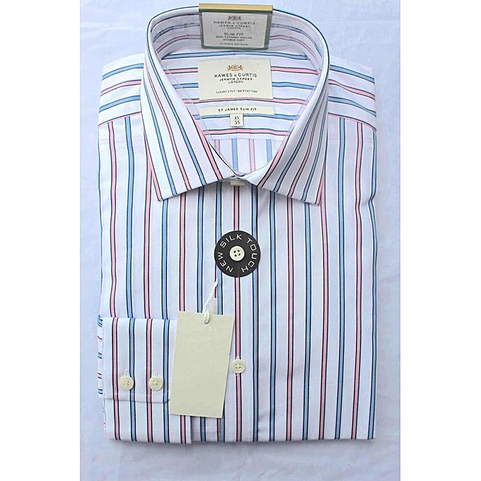 c25a2b1f00 Men's Formal Blue & Pink Stripe Slim Fit Shirt - Single Cuff - Easy Iron